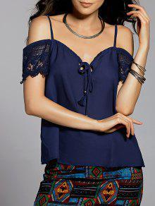Lace Splice Cami Cold Shoulder Blouse - Cadetblue S