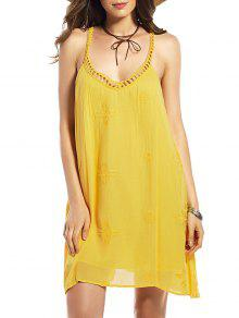 الفستان بتطريز الزهور للصيف - الأصفر S