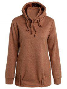 Solid Color Long Sleeve Loose Pullover Hoodie - Brown Xl