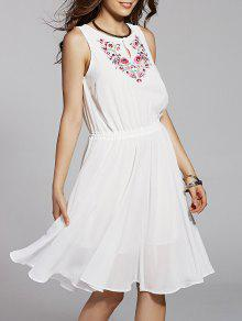 Buy Round Neck Embroidery Sleeveless Dress - WHITE L