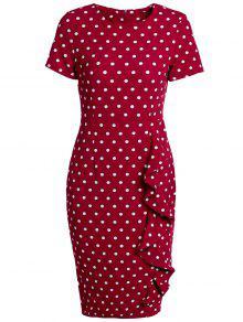 فستان رصاص نسائي انقسام قصيرة الأكمام  - نبيذ أحمر L