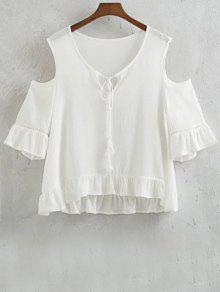 Volantes Cold Shoulder Empalmado De Cuello Redondo De La Camiseta - Blanco L
