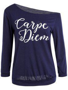 Recortar Cuello De La Impresión De La Letra De La Camiseta - Azul Purpúreo Xl