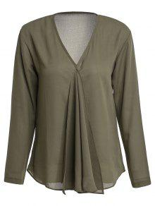 Solid Color Pleated V-Neck Long Sleeve Blouse - Army Green M