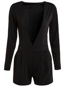 Buy Long Sleeve Plunging Neck Black Playsuit - BLACK XL