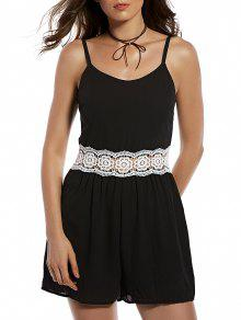 Zippered Lace Spliced Cami Romper - Black S