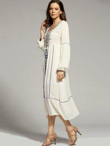 Vestido De Bordado De S Con Manga Linterna Blanco La La Recortable Cuello Redondo UHpqwq
