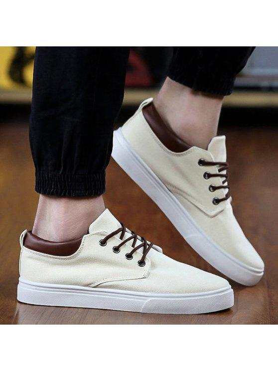 clearance largest supplier buy cheap discount Simple Solid Color and Lace-Up Design Canvas Shoes For Men - Off-white 44 LKqzx7T
