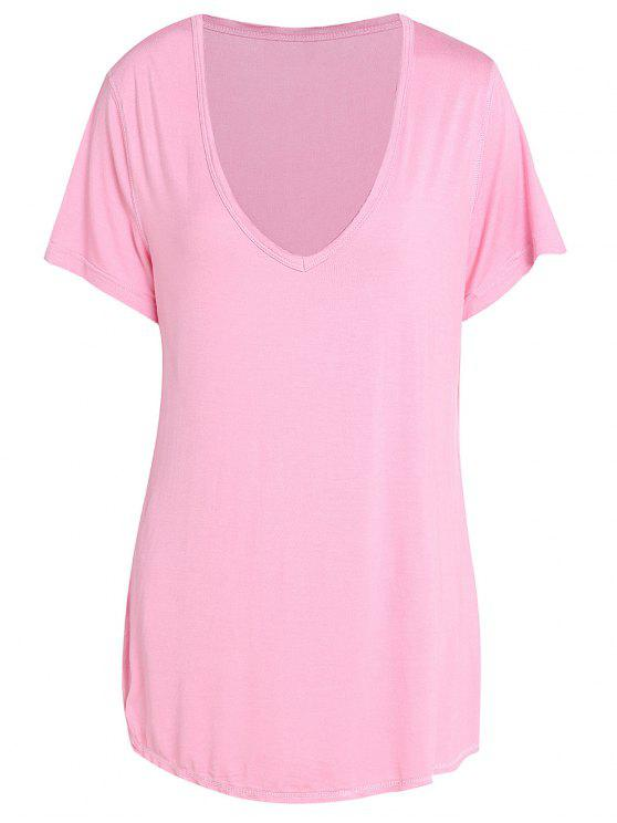 Manga curta na moda Pure Color V-Neck T-Shirt para as Mulheres - Rosa 2XL