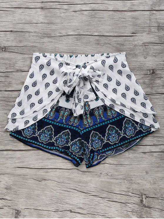 best Bohemian Print Wide Leg Shorts - BLUE XL