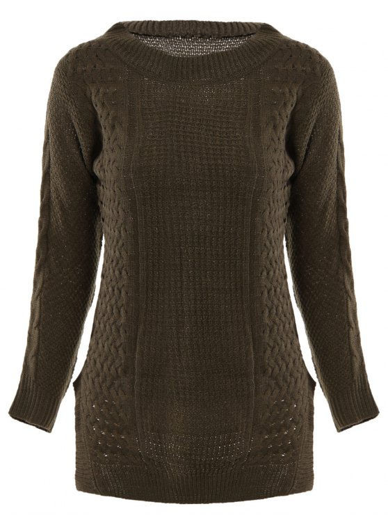 best Crew Neck Basket Weave Knit Sweater - DEEP BROWN ONE SIZE(FIT OUR SIZE)