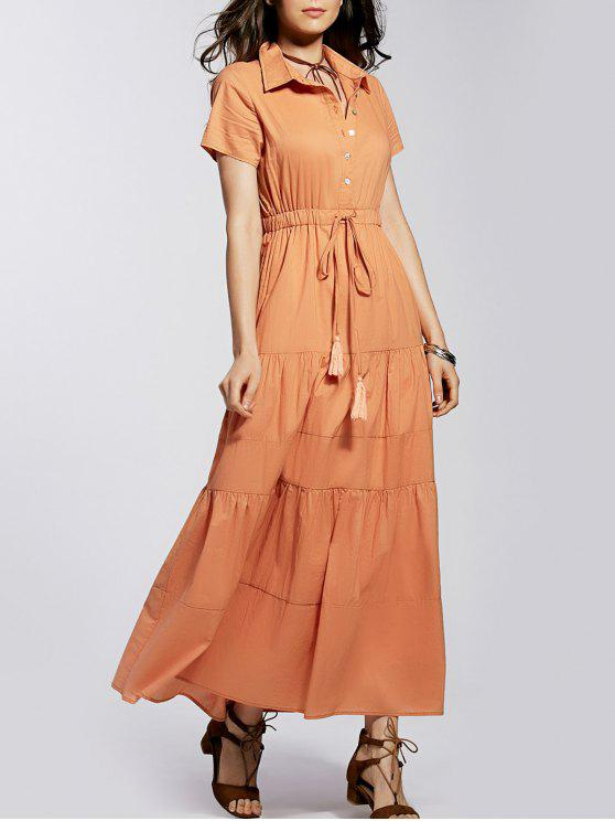 ماكسي اللباس القميص - Orangepink M