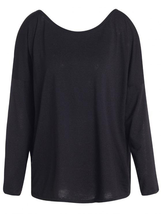 fashion Slash Neck Long Sleeve Loose Fit T-Shirt - BLACK M