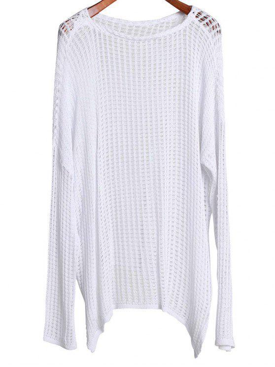 Large vêtement couvrant élégant à col rond et manches longues - Blanc Taille Unique(S'adap