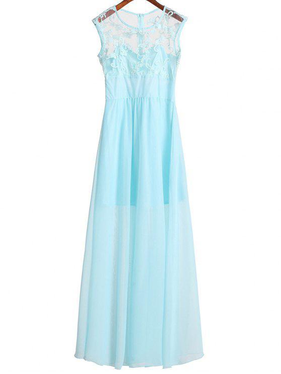 Sleeveless Häkelarbeit-Blume Chiffon-Kleid Azurblau : Maxikleid XL ...
