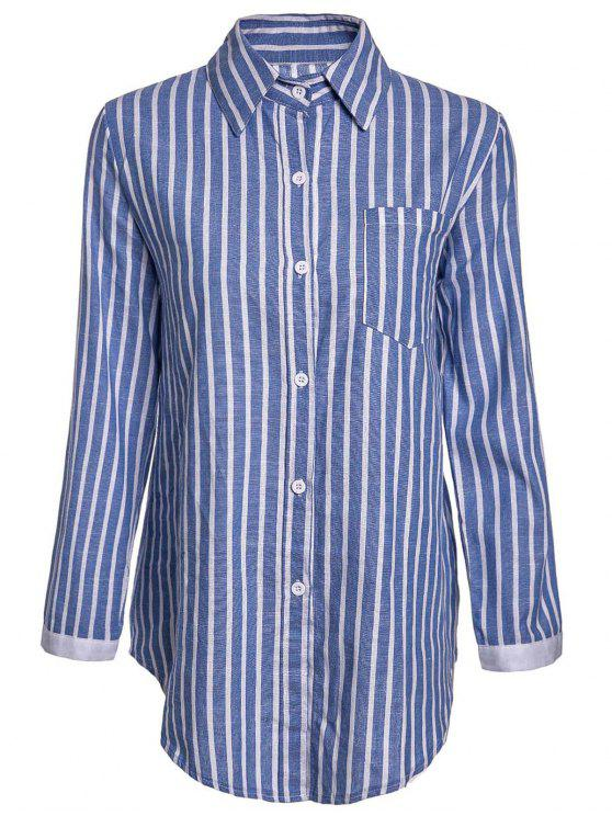 best Striped Pocket Shirt - BLUE XL