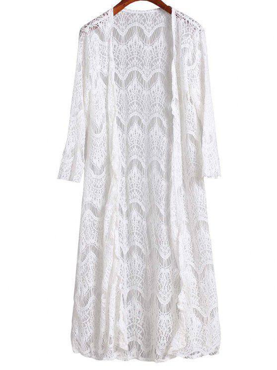 trendy Mesh 3/4 Sleeve Long Cover Up - WHITE XL
