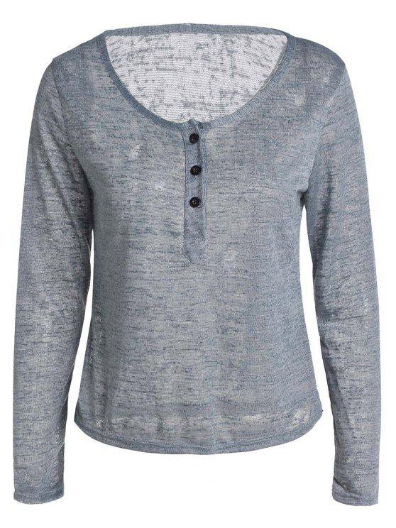 chic Button V Neck Long Sleeve T-Shirt - GRAY XL
