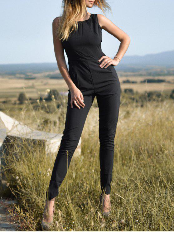 hot Black Jewel Neck Backless Sleeveless Jumpsuit - BLACK M