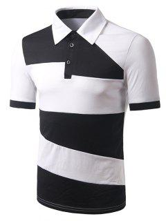 Turn-down Collar Color Block Short Sleeves Polo T-Shirt For Men - White Xl