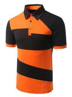 Turn-down Collar Del Bloque Del Color De Manga Corta De La Camiseta Del Polo Para Los Hombres - Naranja 2xl