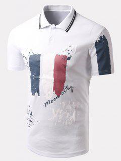 Turn-down Collar Letter Printed Short Sleeves Polo T-Shirt For Men - White L