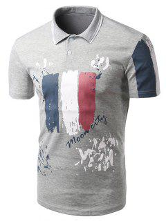 Turn-down-Kragen-Brief Gedruckt Kurzen Ärmeln Polo-T-Shirt Für Männer - Grau 2xl