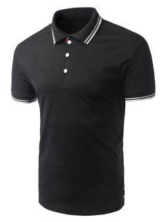 Turn-down Collar Solid Color Short Sleeves Polo T-Shirt For Men - Black M