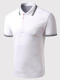 Turn-down Collar Solid Color Short Sleeves Polo T-Shirt For Men - White M