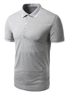 Turn-down Collar Color Sólido De Manga Corta De La Camiseta Del Polo Para Los Hombres - Gris L
