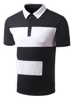 Turn-down Collar Del Bloque Del Color De Manga Corta De La Camiseta Del Polo Para Los Hombres - Negro M