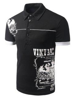 Turn-down Collar Abstract Printed Short Sleeves Polo T-Shirt For Men - Black 2xl