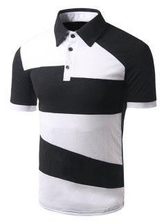 Turn-down Collar Color Block Short Sleeves Polo T-Shirt For Men - Black L