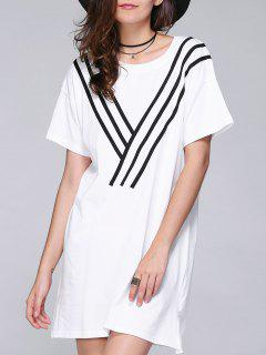 Short Sleeve Striped Loose Fitting Dress - White S