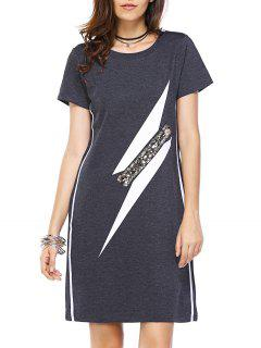 Striped Round Neck Geometric Print Sequins Dress - Deep Gray M