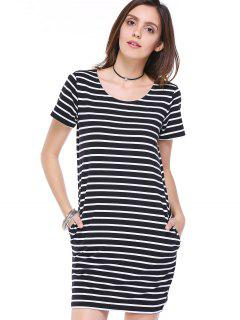 Striped Scoop Neck Short Sleeve Pockets Dress - White And Black S