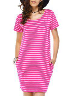 Striped Scoop Neck Short Sleeve Pockets Dress - Rose S