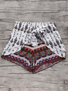Ethnic Printed Wide Leg Shorts - White Xl