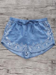 Elastic Denim Shorts - Blue S