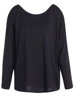Slash Neck Long Sleeve Loose Fit T-Shirt - Black S