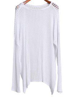 Large Vêtement Couvrant élégant à Col Rond Et Manches Longues - Blanc