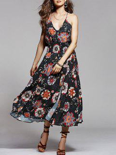 Cami Floral Ruffles Backless Dress - S