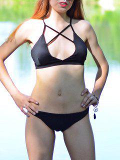 Cross Solid Color Halter Bikini Set - Black M