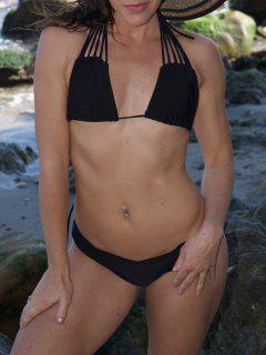 Conjunto De Tiras Del Bikini De Color Sólido - Negro Xl
