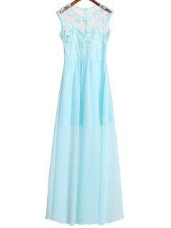 Lace Bodice Chiffon Dress - Azure Xl