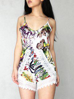 Printed Lace Trim Cami Romper - White S