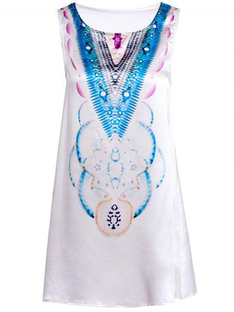 trendy Round Neck Abstract Print Mini Dress - LIGHT BLUE S Mobile