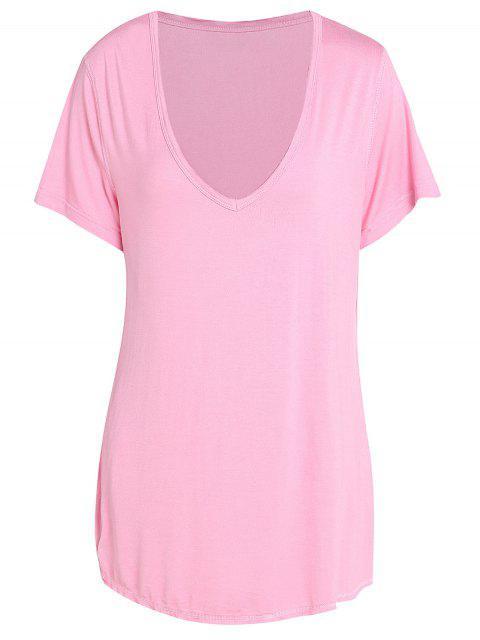 Modisches Einfarbiges T-Shirt mit V-Ausschnitt und Kurzarm für Damen - Rosa 2XL Mobile