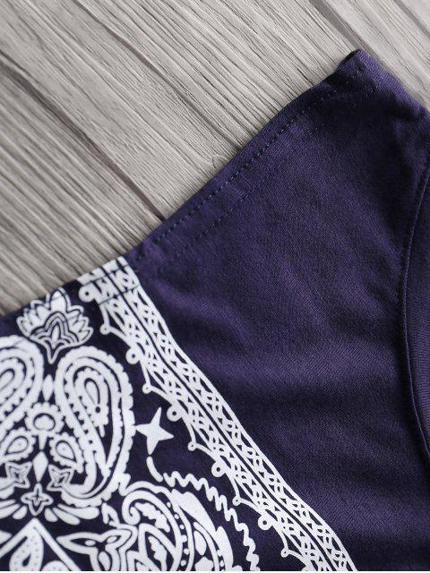 online Loose Totem Print Round Neck Tank Top - PURPLISH BLUE 2XL Mobile