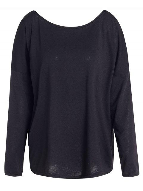 chic Slash Neck Long Sleeve Loose Fit T-Shirt - BLACK L Mobile